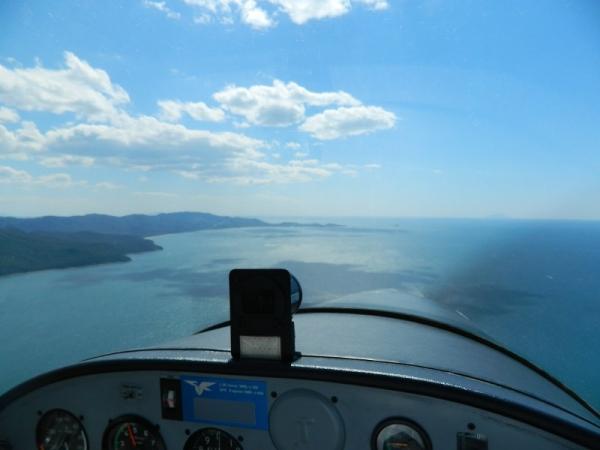 Vista di Punta Ala dall'aereo